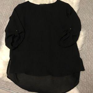 Zara Basic Black Quarter Length Sleeve Blouse